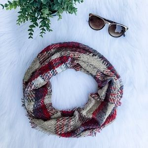 Super Soft Plaid Infinity Scarf Taupe